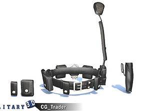 rigged Police Gun Belt Low-Poly 3D Model