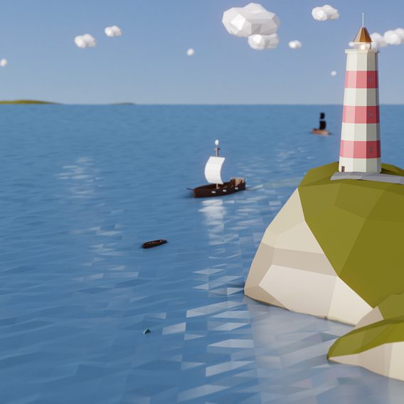 Low-Poly Lighthouse & Pirates