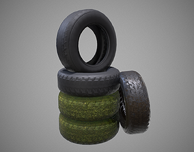 3D asset Low poly Tire 04 PBR Game-ready