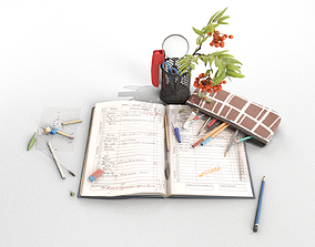 3D School Stationery with Mountain Ash Branch