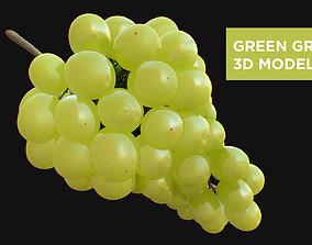 3D Green Grapes High Detail