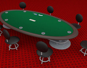 Miniature Poker Table For Casino 3D asset