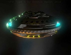 3D asset UFO Type 5 Animated and Game Ready