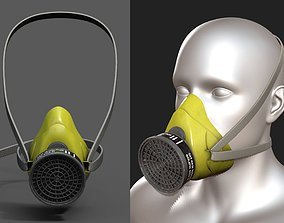 Gas mask respirator scifi military combat 3d low-poly