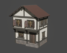 3D asset VR / AR ready low poly medieval house