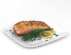 Cooked Salmon Fillet 3D model