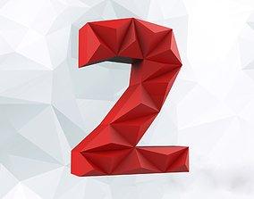 3D printable model Lowpoly digit 2