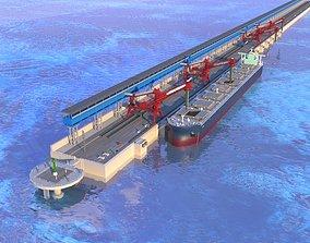 Bulk carrier ship on the Seaport Pier 3D