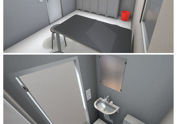 low-poly break room with toilets