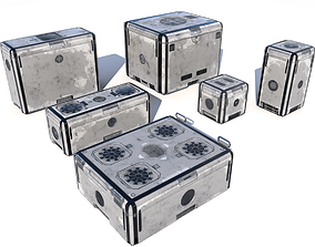 3D model Sci Fi old white cargo crates
