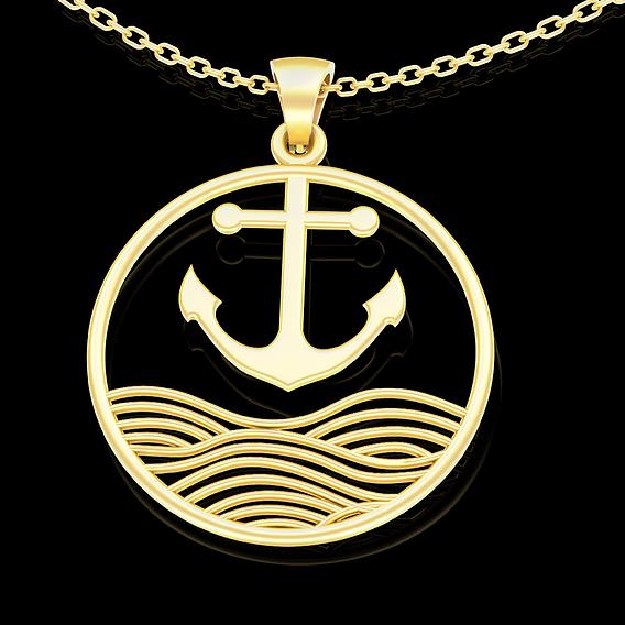 Anchor Pendant jewelry Gold 3D print model