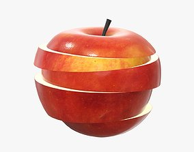Sliced apple fruit 3D model