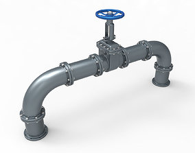 3D model Gate Valve And Pipes