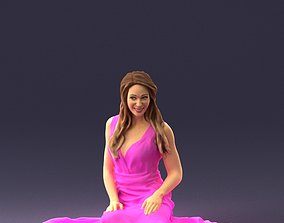 Woman is sitting in pink dress 0169 3D Print