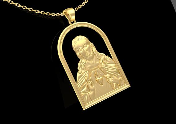 JESUS CHRIST LOVE HEART Pendant Jewelry Gold 3D print model