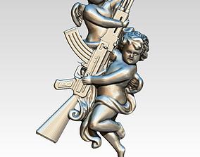 Angel weapon AK47 Avtomat Kalashnikova 3D print model 2
