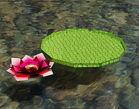 3D asset Lotus flower and its leaf in the spirit of 1