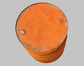 3D asset rusty metal barrel red