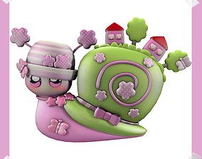 Cute Snail world in many colours 3D model