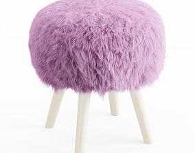 3D soft Faux Fur Stool