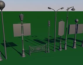 3D asset Street Lighting Set