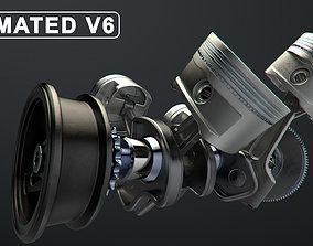 V6 Engine Working Animated 3D model