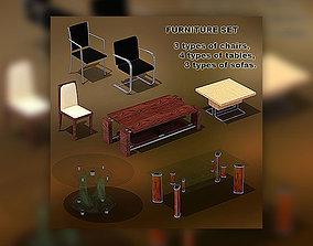 3D asset Furniture Set 01