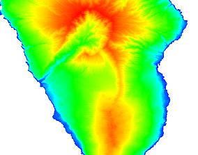 low-poly La palma island Elevation model 3D print and