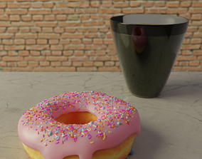 Pink Donut with glass of Water 3D model