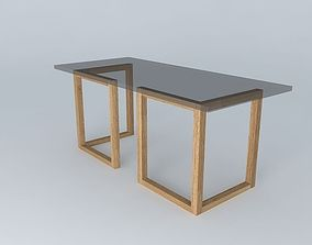 table glass top tressle legs 3D model