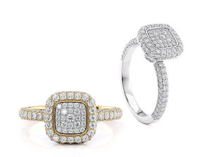 Engagement ring Cusion head shape with side stones