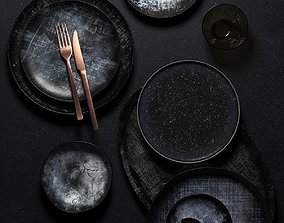 3D model black Tableware Set 7