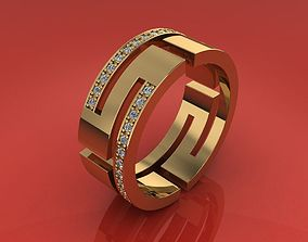 Ring with gems 3D print model jewelry