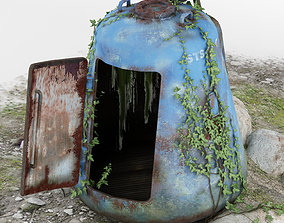 3D model The abandoned rescue capsule 02