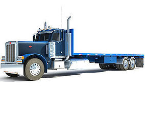 Blue Truck Flatbed 3D