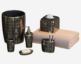 3D Beauty Black and Gold Bath Accessories