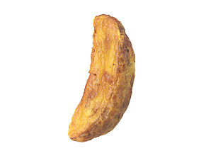 Photorealistic Fried Potato Wedge 3D Scan 3