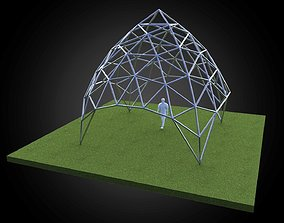 3D asset Dome pointed triangulated wire-frame structure 1