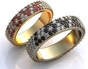 Gold Metal Wedding Rings with Diamonds 3D print model