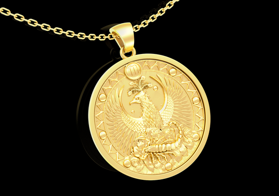 Scorpio Signs and Eagle Pendant jewelry Gold 3D print model