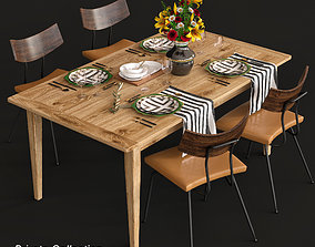 dining-table Dining table and chairs and serving 3D model