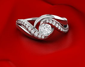 silver Unique Tension Ring 3D print model