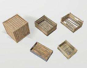 Wood boxes 3D asset