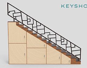 desktop STAIRS CABINET WOOD 3D model