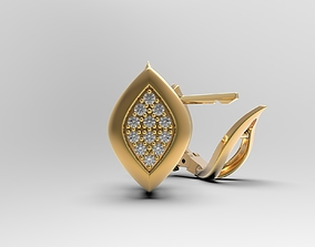 Earrings with gems Geometric Leaf shaped 3D print model