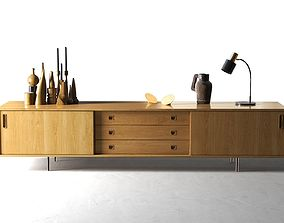 3D Danish Sideboard with Decorative Objects and Lamp