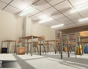 3D asset low-poly Classroom - School