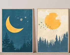 Set of 2 Day and Night print Sun and Moon Wall Art