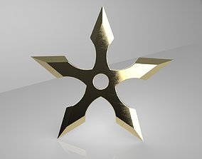 3D printable model Ninja Star 5 blades One sided 2