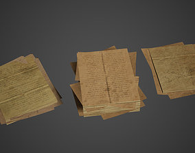 Paper Stacks Pile Low Poly Game Ready 3D asset